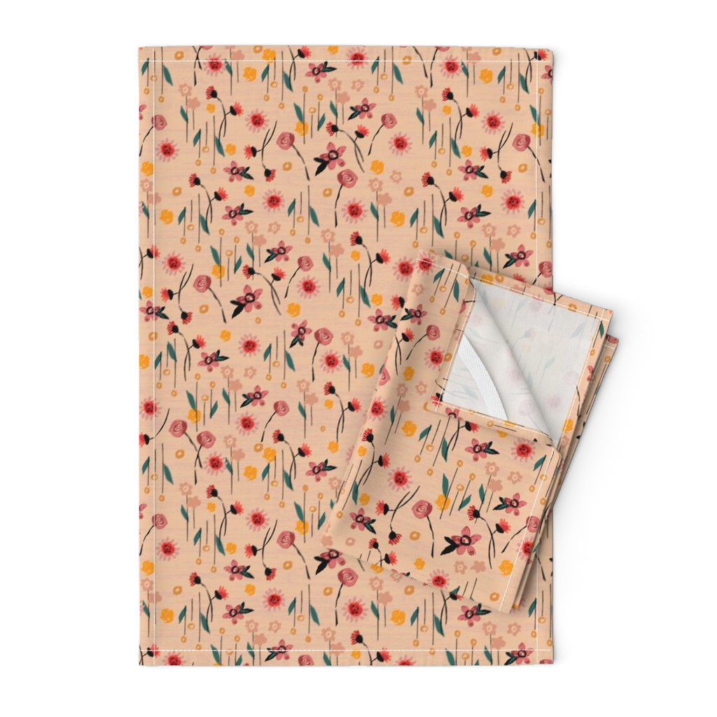 Orpington Tea Towels featuring Soft Pink Floral by sarah_treu