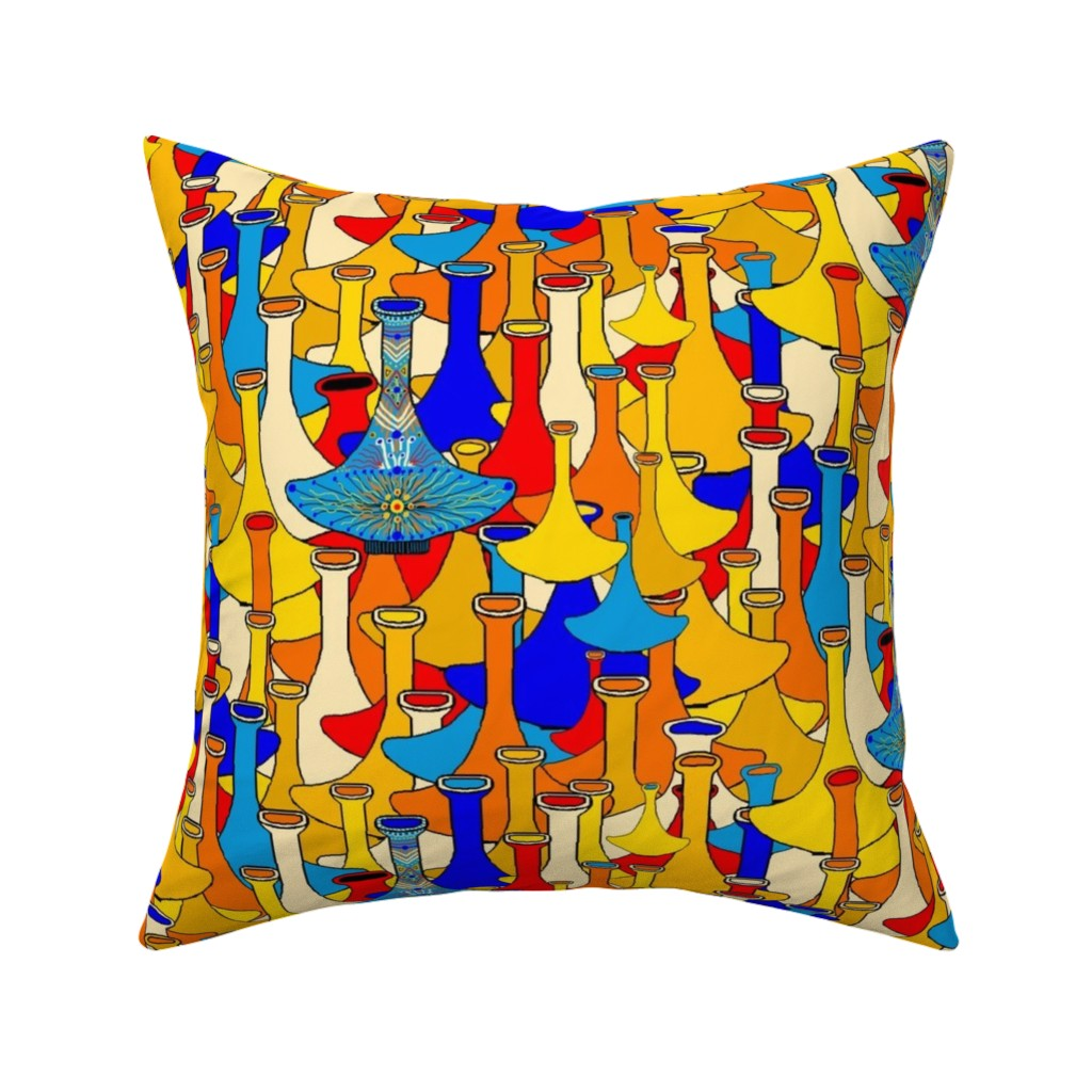 Catalan Throw Pillow featuring North African moroccan marrakesh hookah vases, large scale, blue yellow orange red by amy_g