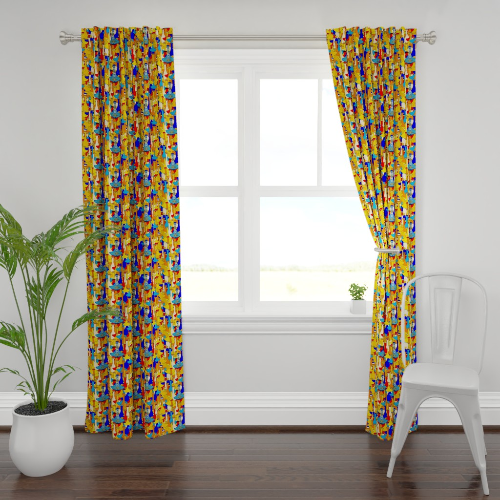 Plymouth Curtain Panel featuring North African moroccan marrakesh hookah vases, large scale, blue yellow orange red by amy_g