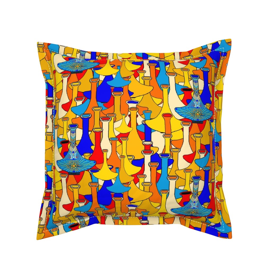 Serama Throw Pillow featuring North African moroccan marrakesh hookah vases, large scale, blue yellow orange red by amy_g