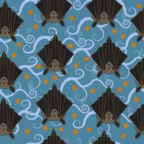 Bats roost on blue spiral trees in an orange starry sky