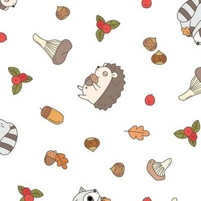 hedgehog and raccoon woodland animal pattern