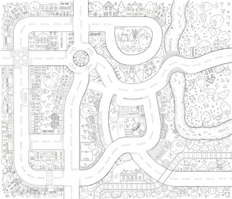 Colour In Playmat Around Town Floor Map