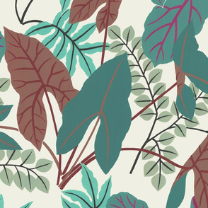 jungle leaves (teal/green)