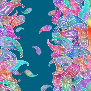 Super Bright Colorful Boho Paisley Double Border Print on Blue