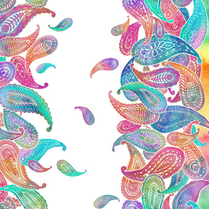 Super Bright Colorful Boho Paisley Double Border Print on White