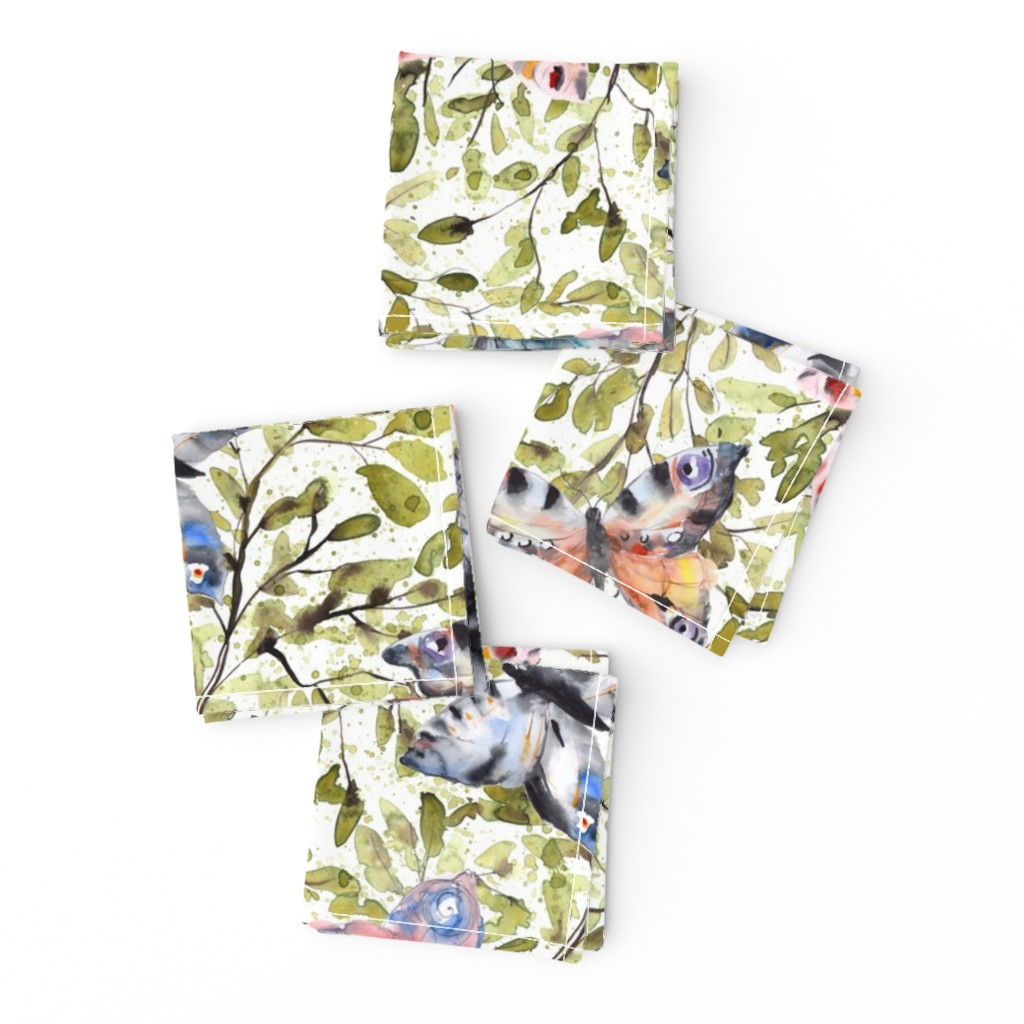 Frizzle Cocktail Napkins featuring Butterflies on green leaves splashy watercolor by rebecca_reck_art