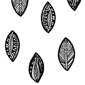 Tribal Leaves Black White