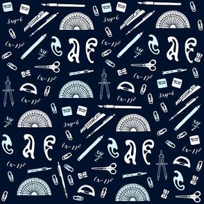 Math Theme Fabric