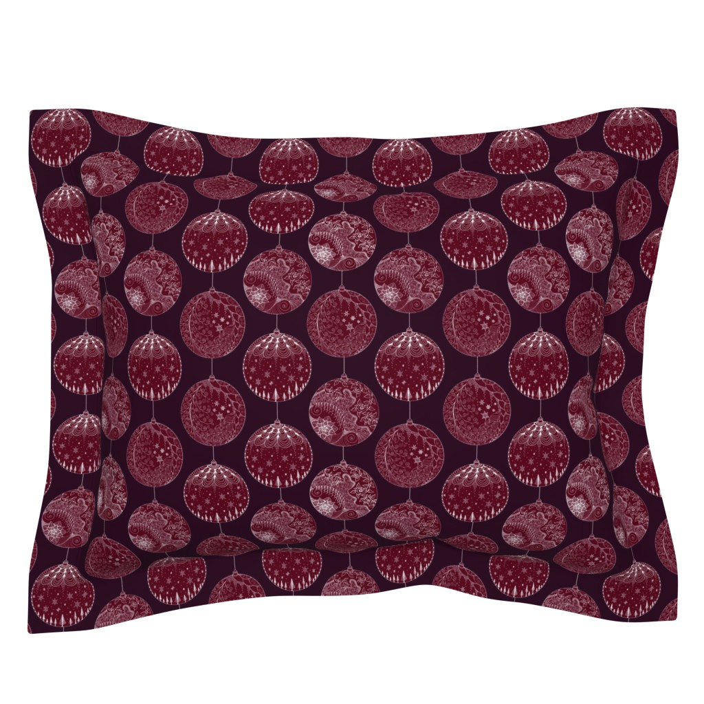 Sebright Pillow Sham featuring Elegant Holiday Baubles by emily_laughlin