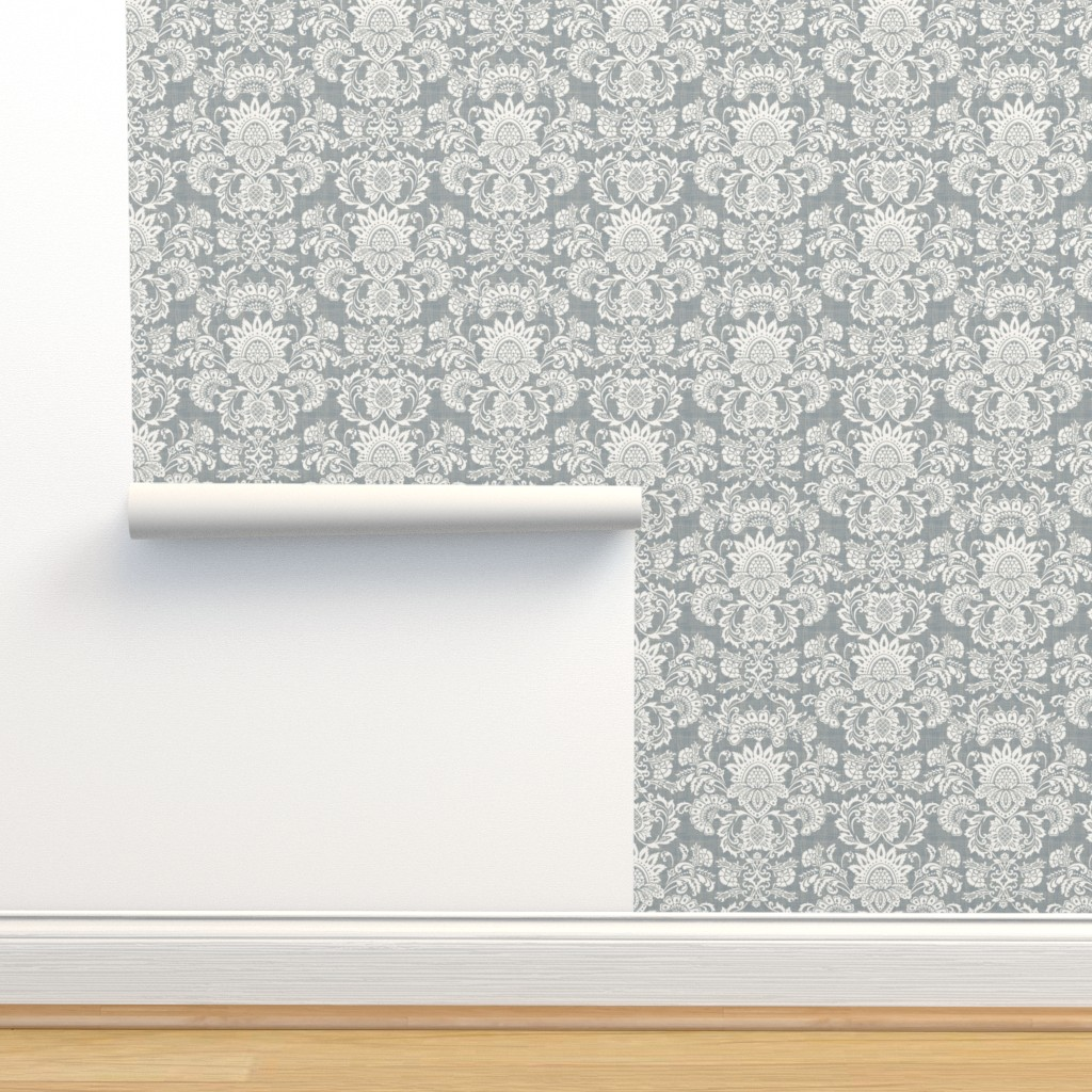 Isobar Durable Wallpaper featuring damask gray by chicca_besso