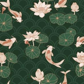 koi garden // green-pink