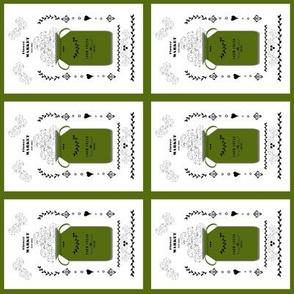 quilt squares - tea towel flower market jug- bay leaf green