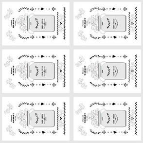 quilt squares 4 - tea towel flower market jug- gray