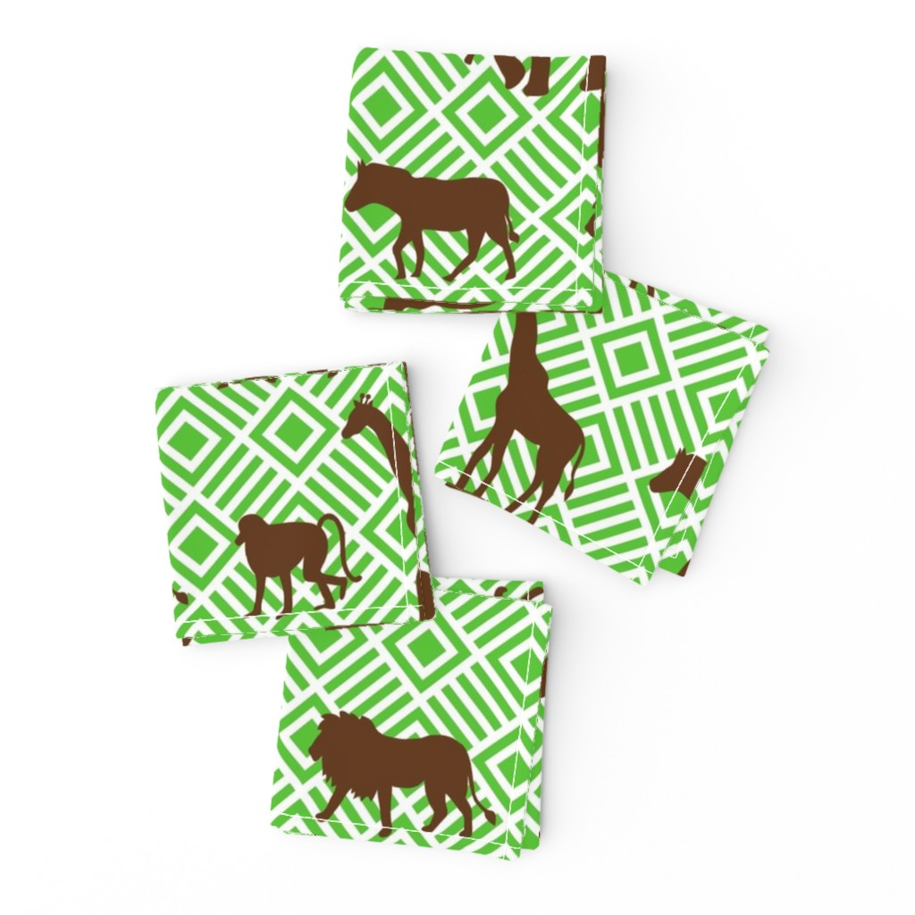 Frizzle Cocktail Napkins featuring Wilds of Africa Animals White Green by phyllisdobbs