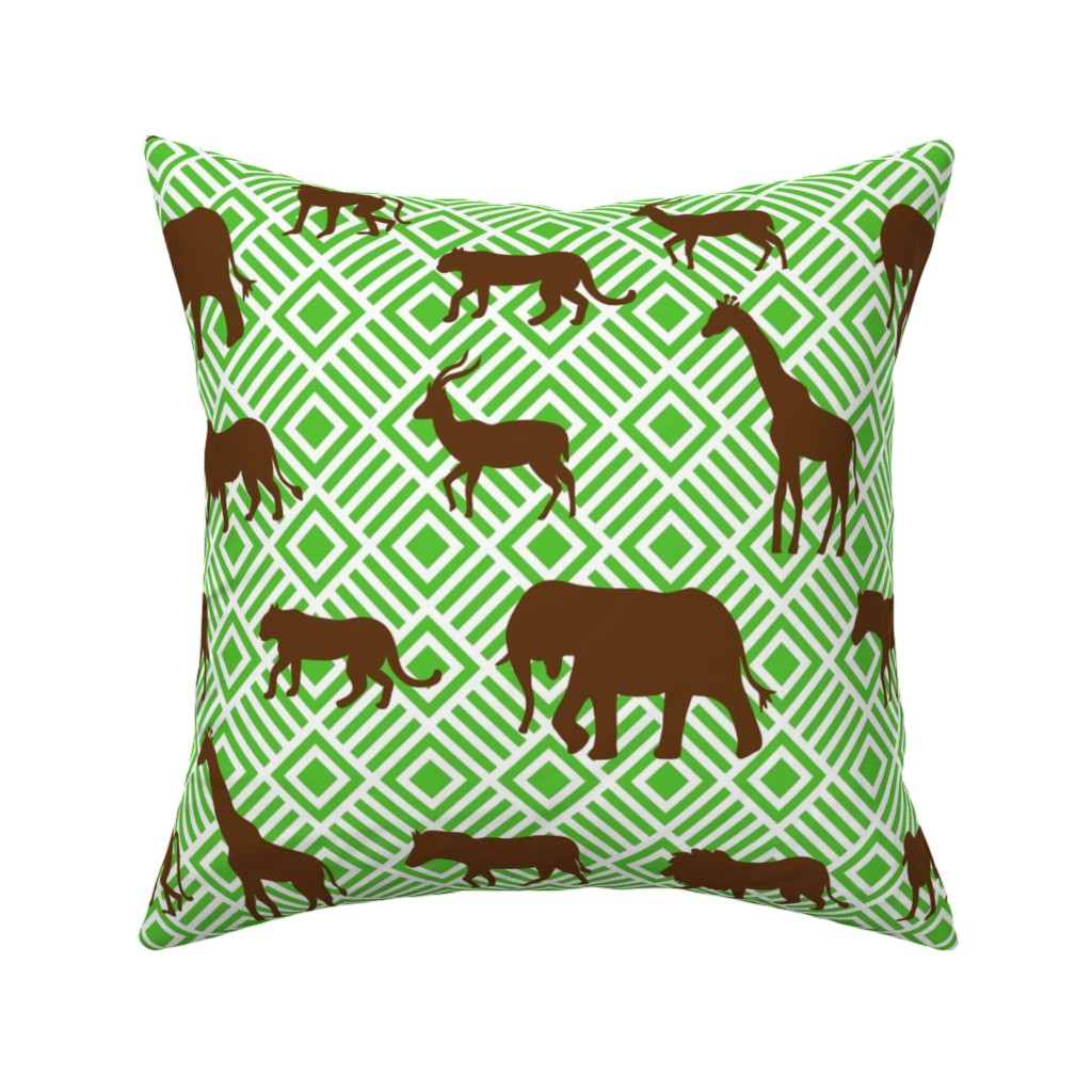 Catalan Throw Pillow featuring Wilds of Africa Animals White Green by phyllisdobbs