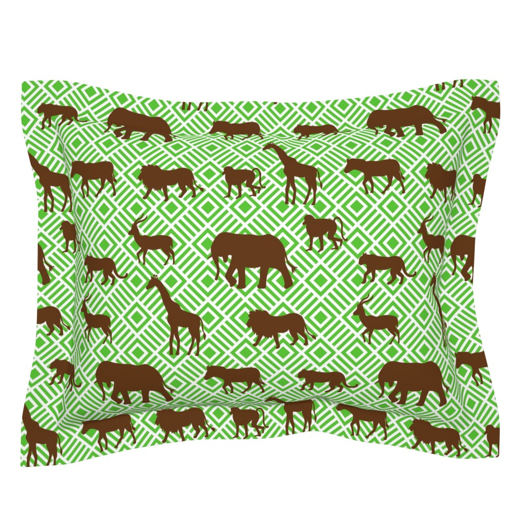 Sebright Pillow Sham featuring Wilds of Africa Animals White Green by phyllisdobbs