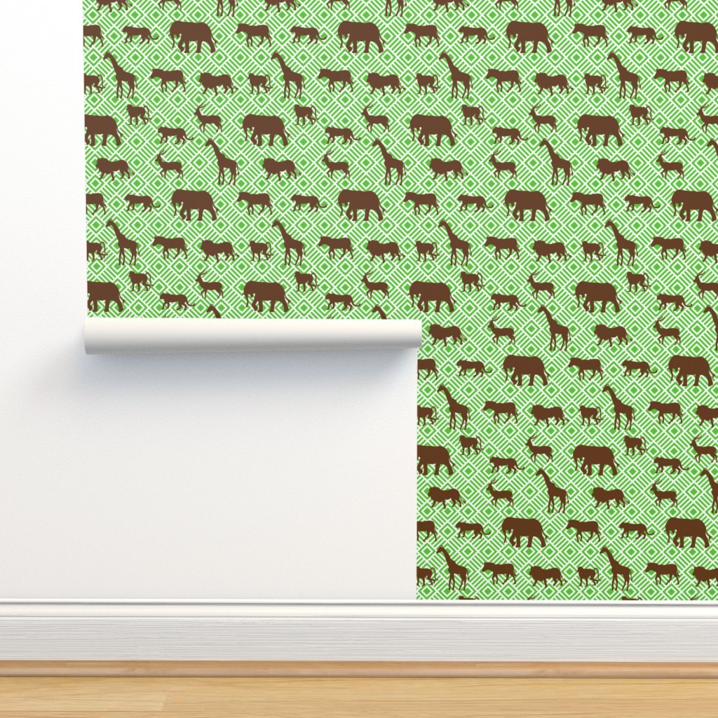 Isobar Durable Wallpaper featuring Wilds of Africa Animals White Green by phyllisdobbs