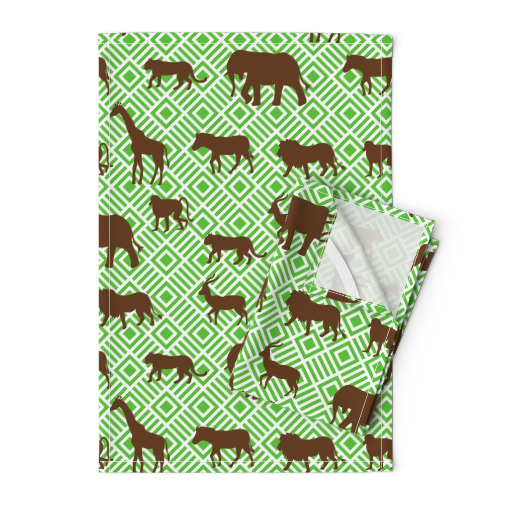 Orpington Tea Towels featuring Wilds of Africa Animals White Green by phyllisdobbs