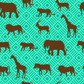 Wilds of Africa Animals Turquoise