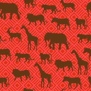 Wilds of Africa Animals Red