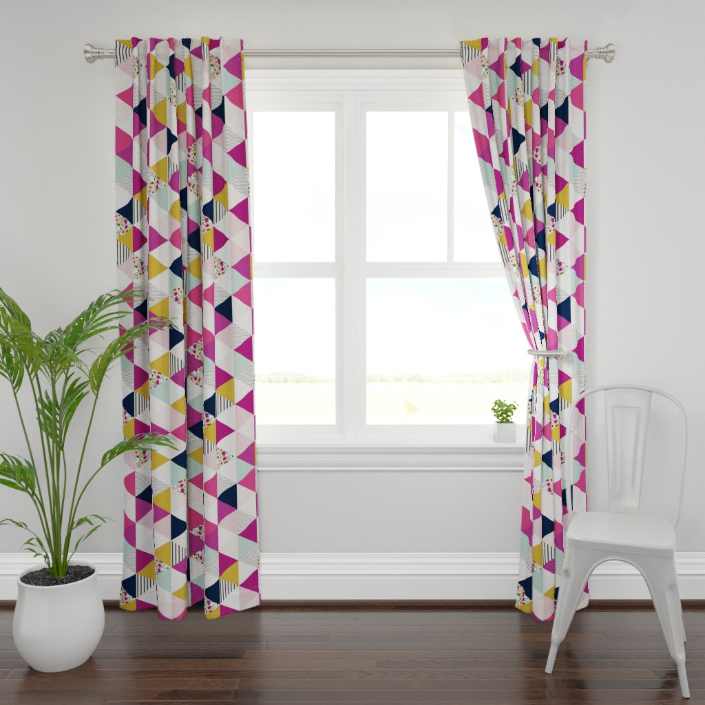 Plymouth Curtain Panel featuring Floral Triangles Wholecloth Rotated by sweeterthanhoney