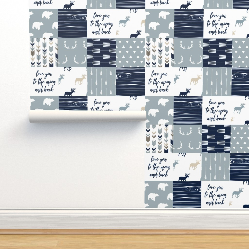 Isobar Durable Wallpaper featuring little adventurer blue - love you to the moon and back C18BS by littlearrowdesign
