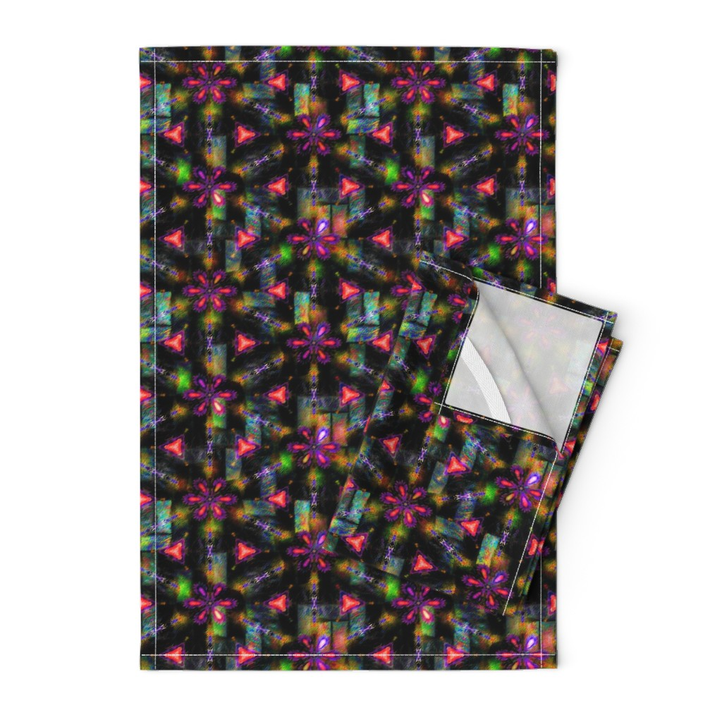 Orpington Tea Towels featuring BOHO STARS FLOWERS 4  FUCHSIA ORANGE GEOMETRY by paysmage