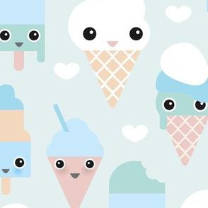 Colorful sweet summer ice cream popsicle sugar pastel kawaii illustration boys XL Jumbo