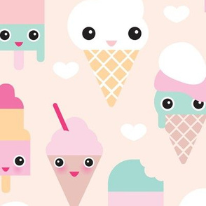 Colorful sweet summer ice cream popsicle sugar pastel kawaii illustration XL Jumbo