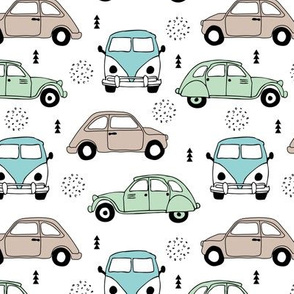 Cool vw bus and fiat 500 on the road vintage cars collection with geometric details for fashion and nursery boys mint blue Medium