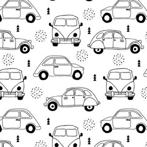 Cool on the road vintage cars collection with geometric details for fashion and nursery gender neutral monochrome black and white