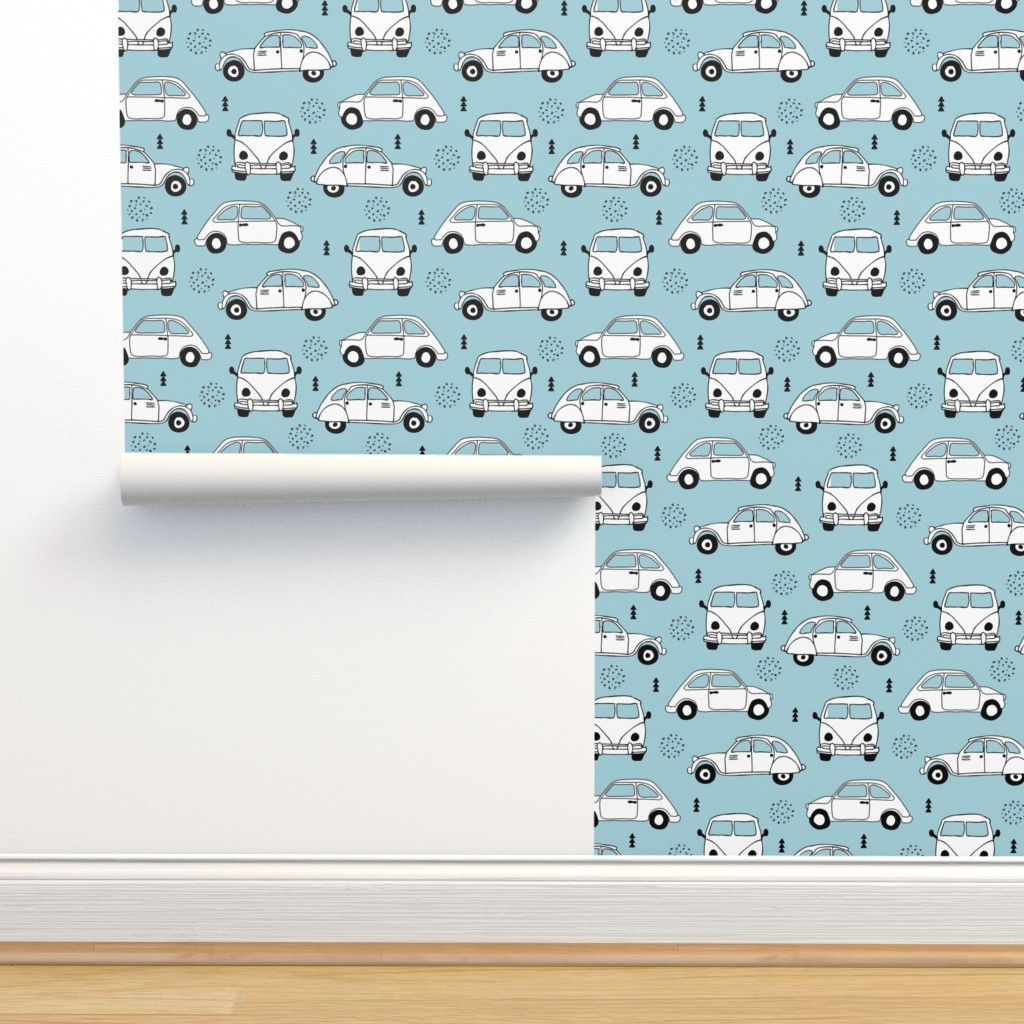 Isobar Durable Wallpaper featuring Cool on the road vintage cars collection with geometric details for fashion and nursery boys blue Medium by littlesmilemakers