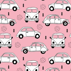 Cool on the road vintage cars collection with geometric details for fashion and nursery girls pink Medium