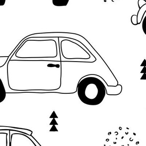 Cool on the road vintage cars collection with geometric details for fashion and nursery gender neutral monochrome black and white Jumbo