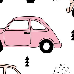 Cool on the road vintage cars collection with geometric details for fashion and nursery girls peach pink XL Jumbo