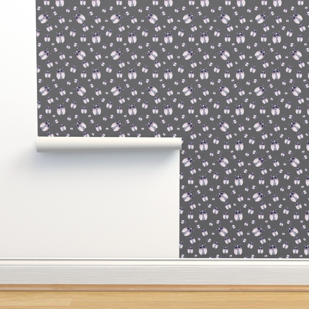 Isobar Durable Wallpaper featuring WINTER OWLS SCATTERED LIGHT GREY gray by paysmage