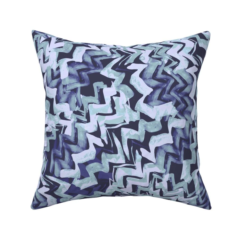Catalan Throw Pillow featuring zag_blue-navy by wren_leyland