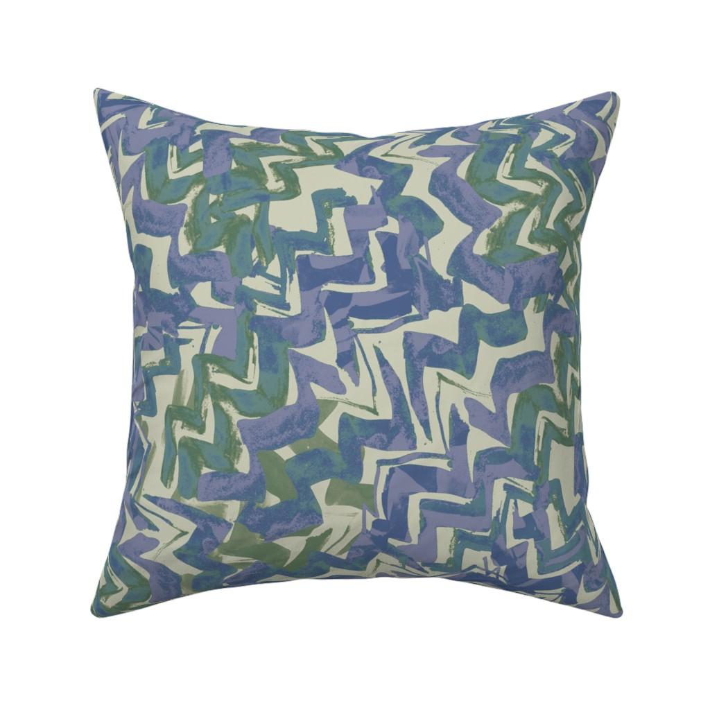 Catalan Throw Pillow featuring zag_purple-green by wren_leyland