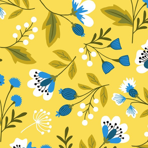 Jumbo Small colorful flowers blue on yellow