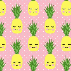 happy pineapples - pink with polka dots
