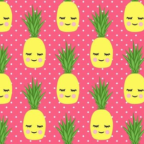 happy pineapples - pink 2 with polka dots