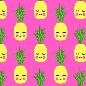 happy pineapples - hot pink