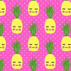 happy pineapples - hot pink with polka dots