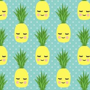 happy pineapples - dark aqua with polk dots