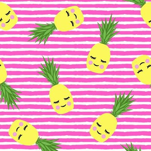 happy pineapples - hot pink stripes