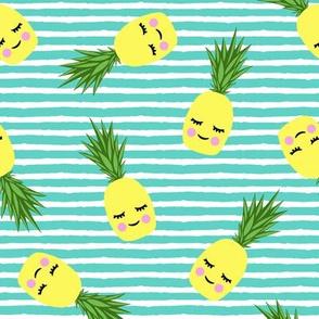 happy pineapples - stripes