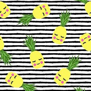 happy pineapples - black stripes