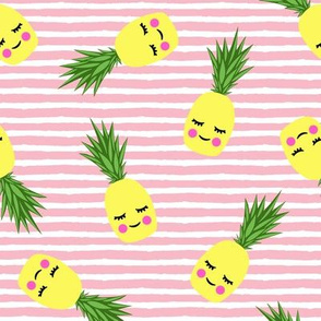 happy pineapples - light pink stripes