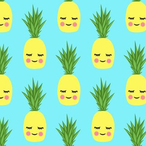 happy pineapples - blue